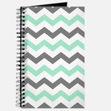 Mint and Gray Chevron Pattern Journal