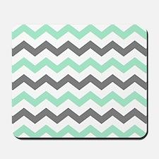 Mint and Gray Chevron Pattern Mousepad