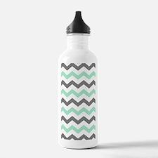 Mint and Gray Chevron Pattern Water Bottle