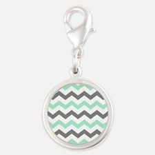 Mint and Gray Chevron Pattern Charms