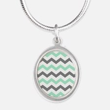 Mint and Gray Chevron Pattern Necklaces
