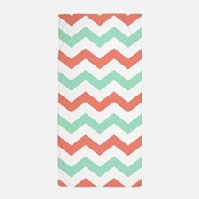 Mint and Coral Chevron Pattern Beach Towel