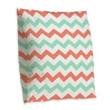 Mint and Coral Chevron Pattern Burlap Throw Pillow