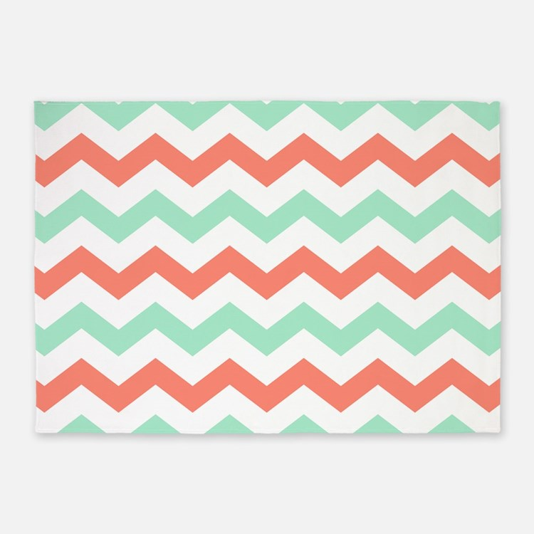 Mint and Coral Chevron Pattern 5'x7'Area Rug