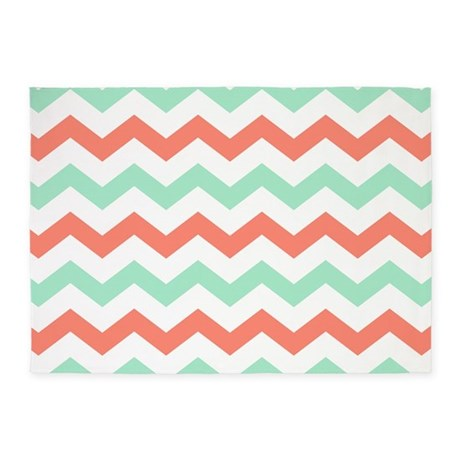 Mint And Coral Chevron Pattern 5u0027x7u0027Area Rug