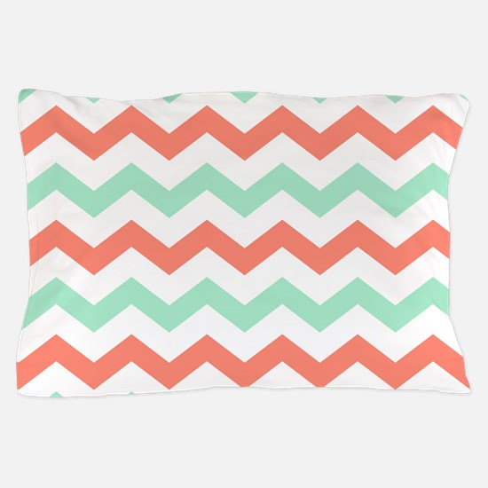 Mint and Coral Chevron Pattern Pillow Case