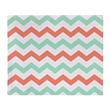 Mint and Coral Chevron Pattern Throw Blanket
