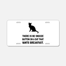 Snooze Button Cat Aluminum License Plate