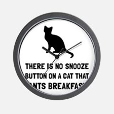 Snooze Button Cat Wall Clock