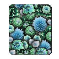 Blue Dahlias Collage Mousepad