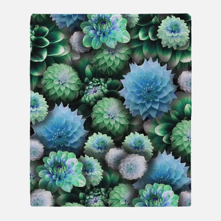 Blue Dahlias Collage Throw Blanket