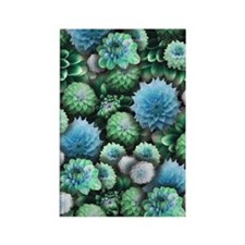 Blue Dahlias Collage Rectangle Magnet