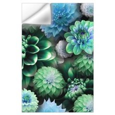 Blue Dahlias Collage Wall Decal