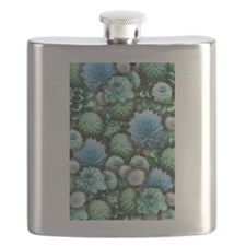 Blue Dahlias Collage Flask