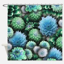Blue Dahlias Collage Shower Curtain
