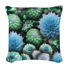 Blue Dahlias Collage Woven Throw Pillow