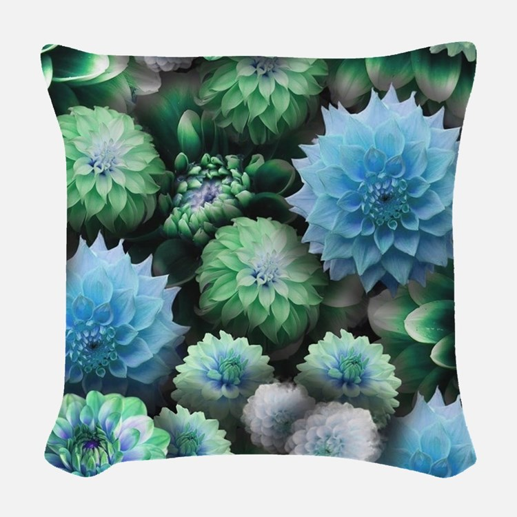 Blue Dahlias Collage Woven Throw Pillow