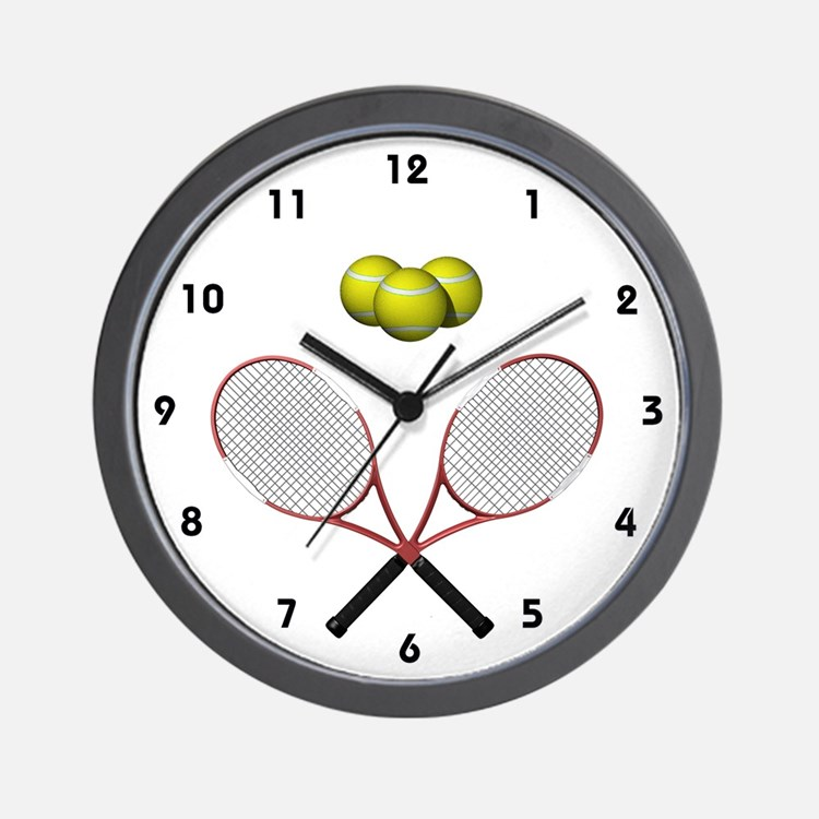 Tennis Racques Crossed Wall Clock