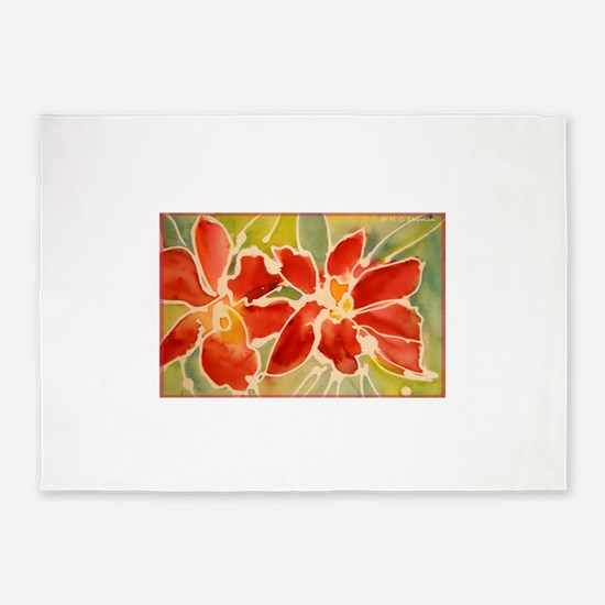 Red orchids! Beautiful art! 5'x7'Area Rug