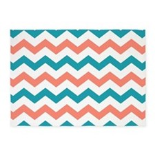 Teal and Coral Chevron Pattern 5'x7'Area Rug