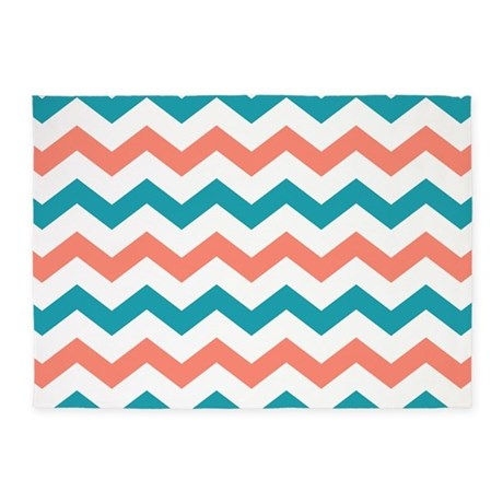 Teal And Coral Chevron Pattern 5u0027x7u0027Area Rug