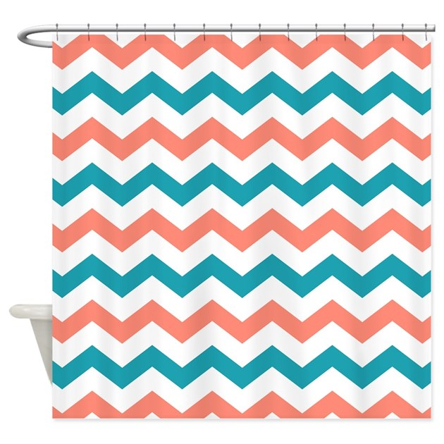 teal and coral chevron pattern shower curtain by