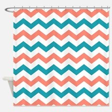 Teal And Coral Shower Curtains Teal And Coral Fabric Shower