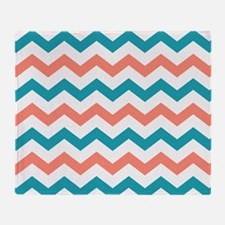 Teal and Coral Chevron Pattern Throw Blanket