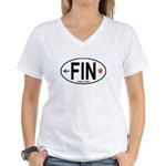 Finland Euro Oval Women's V-Neck T-Shirt