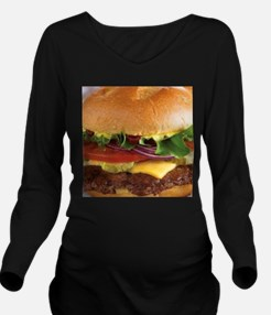 funny cheeseburger Long Sleeve Maternity T-Shirt