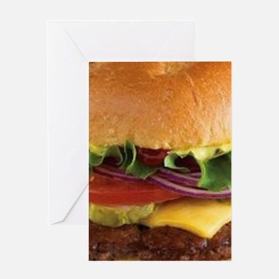 funny cheeseburger Greeting Cards