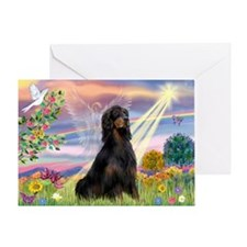 Cloud Angel & Gordon Setter Greeting Card