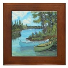 Canoe Painting Framed Tile