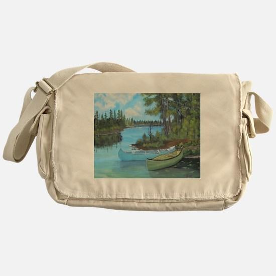 Canoe Painting Messenger Bag