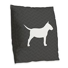 Mini Bull Terrier Burlap Throw Pillow