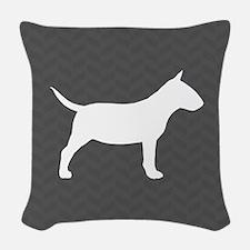 Mini Bull Terrier Woven Throw Pillow
