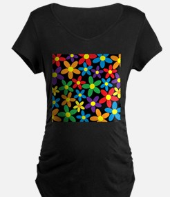 Flowers Colorful Maternity T-Shirt