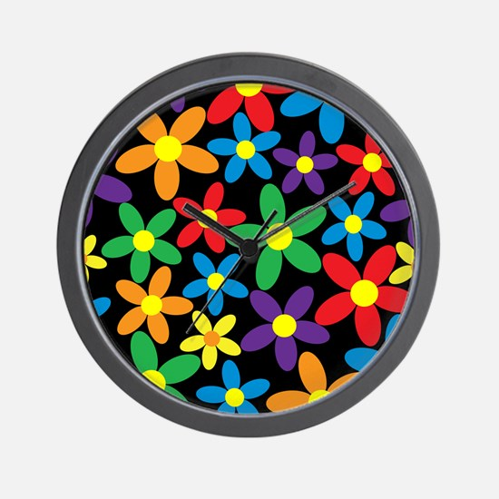 Flowers Colorful Wall Clock