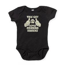 This Guy Loves Siberian Huskies Baby Bodysuit