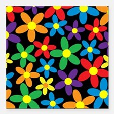 """Flowers Colorful Square Car Magnet 3"""" x 3"""""""