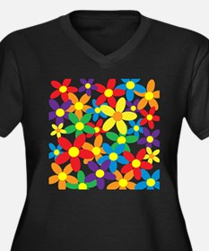 Flowers Colorful Plus Size T-Shirt