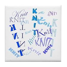 Knit Blue Light Tile Coaster
