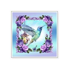 """Watercolor Hummingbird Square Sticker 3"""" X 3"""