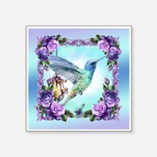 "Watercolor Hummingbird Square Sticker 3"" X 3"