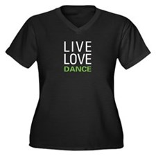 Live Love Da Women's Plus Size V-Neck Dark T-Shirt