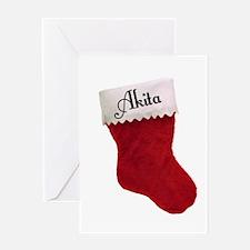 Akita Stocking Greeting Card