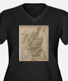 Vintage Physical Map of Scotland Plus Size T-Shirt
