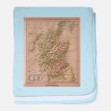Vintage Physical Map of Scotland (188 baby blanket