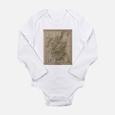 Vintage Physical Map of Scotland (1880) Body Suit