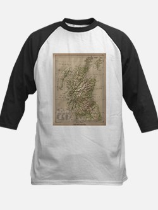 Vintage Physical Map of Scotland ( Baseball Jersey